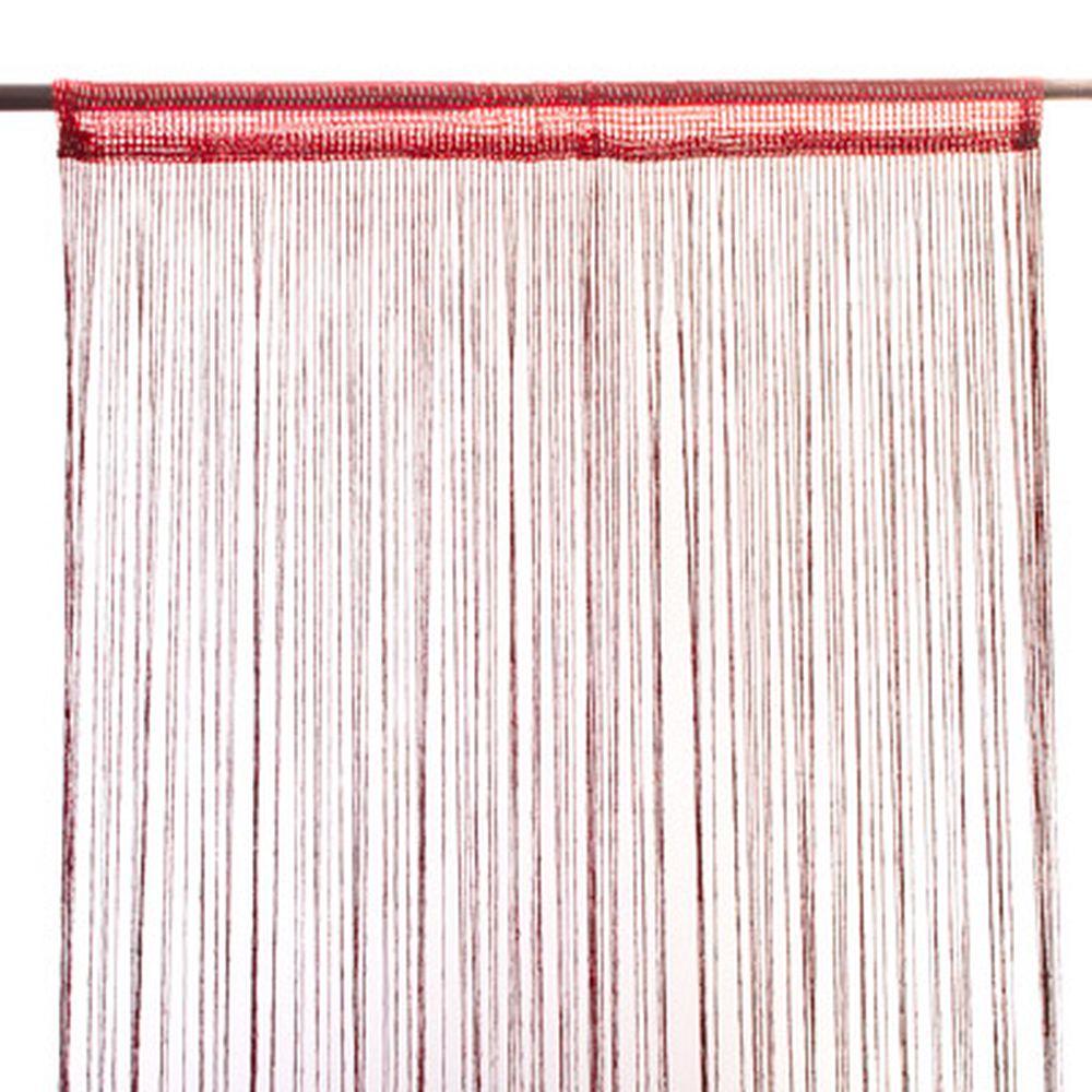 Занавеска нитяная 1x2м, с блестками, бордовая