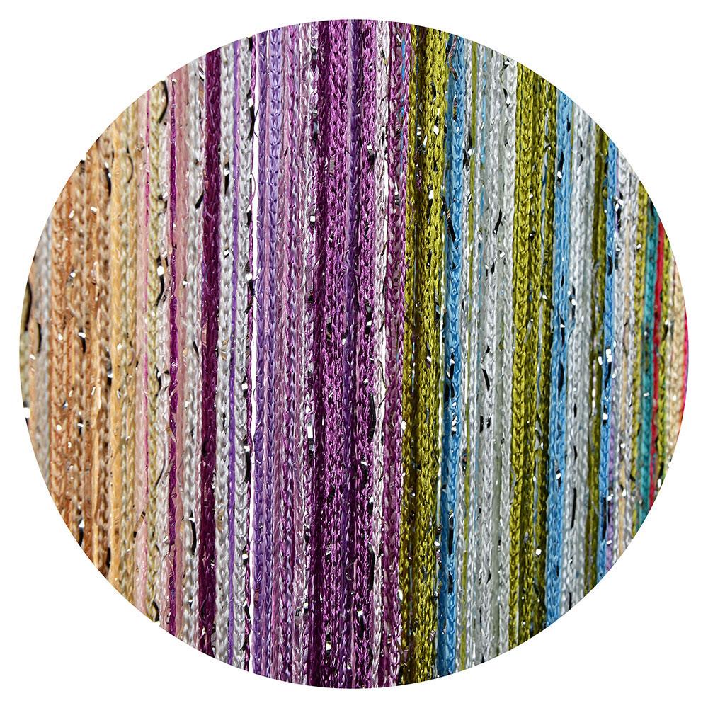 Занавеска нитяная межкомнатная с блестками, полиэстер, 1х2м, 5 цветов