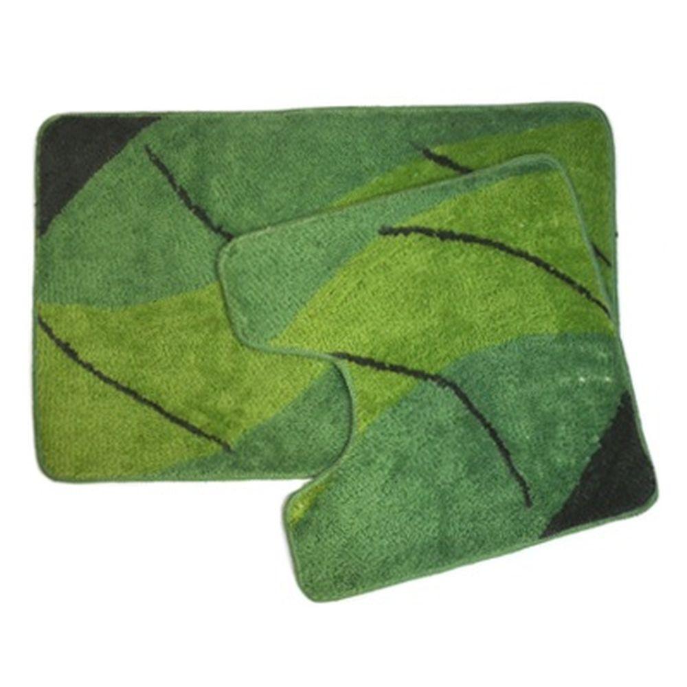 """VETTA Набор ковриков 2шт для ванной и туалета, акрил, 50x80см + 50x50см, """"Волны"""" зелен, SCF12-009B"""