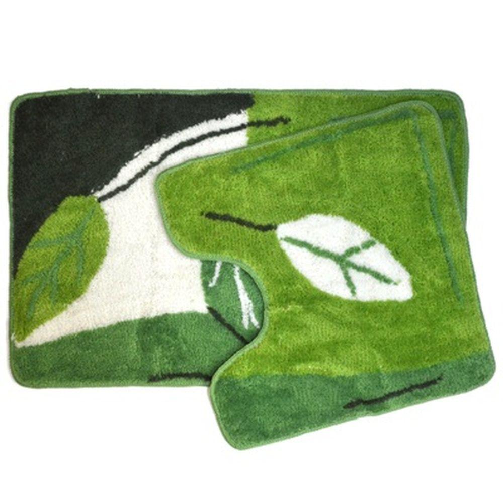 """VETTA Набор ковриков 2шт для ванной и туалета, акрил, 50x80см + 50x50см, """"Листья"""", зеленый, SCF12-02"""