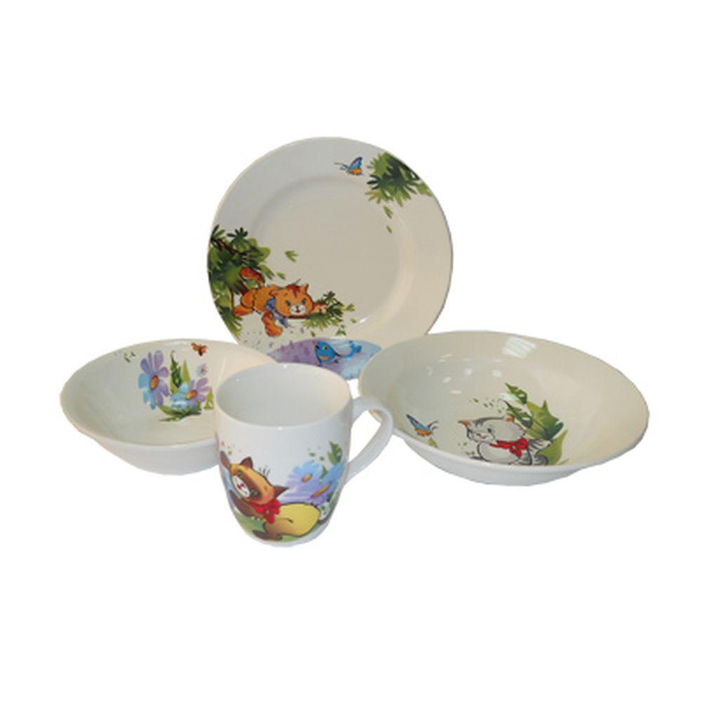 Набор детский 4пр Игра (миска 400мл, тарелка 175мм, кружка 200мл, салатник 270мл) 0840