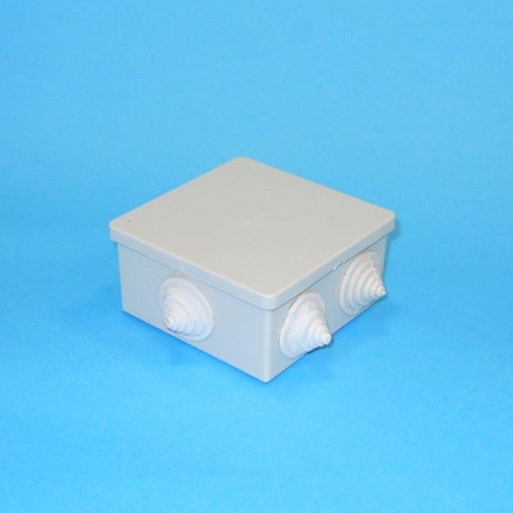 Коробка распаячная для открытой проводки 85х85х40мм IP44 (RAL7035, 6 гермовводов), UKO11-085-085-040