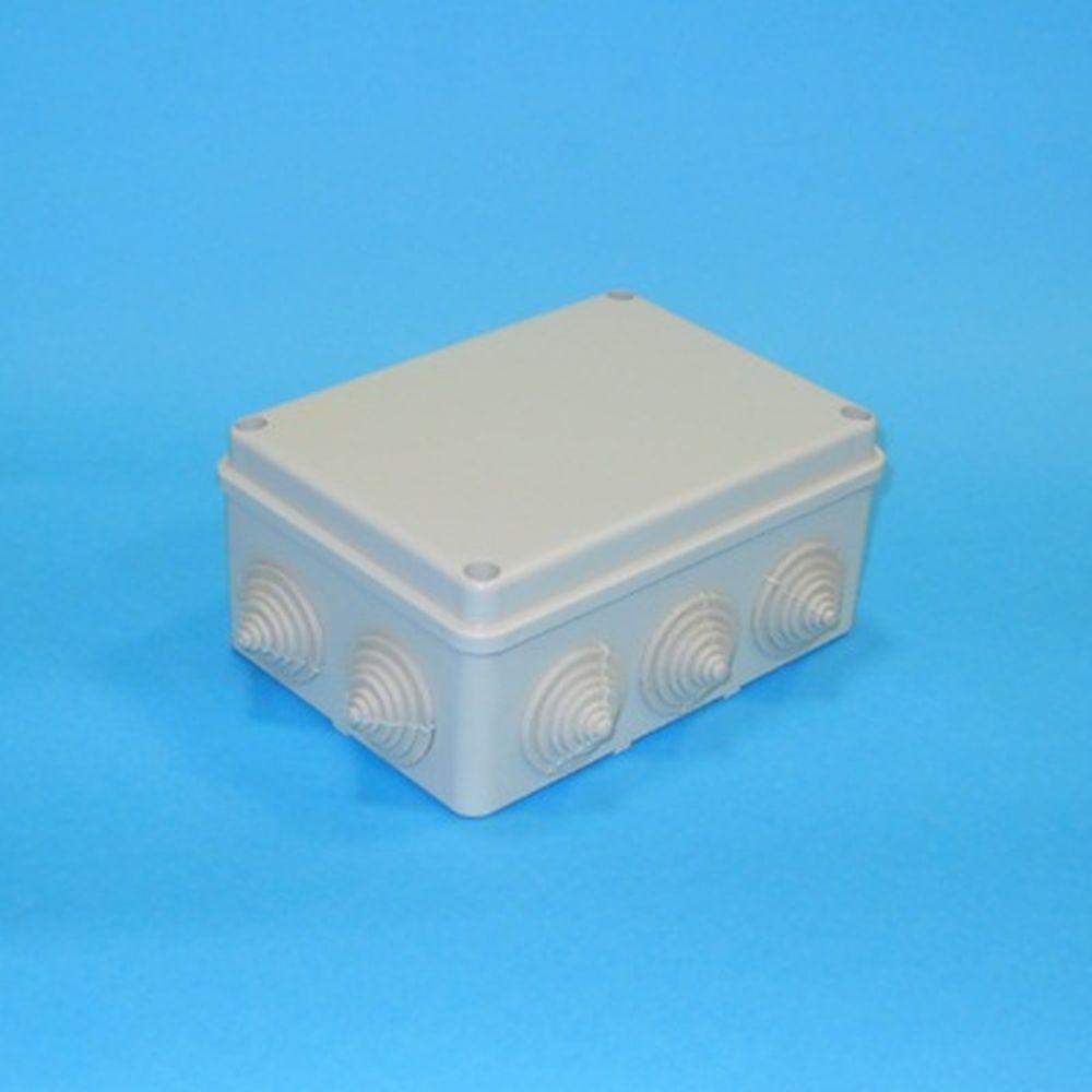 Коробка распаячная для открытой проводки 150х110х70мм IP44 (RAL7035, 10 гермовводов), UKO10-150-110