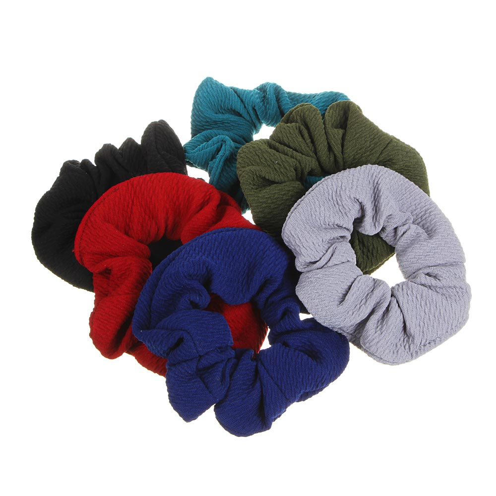 Резинка для волос бархат с камнями, полиэстер, d7 см, 6 цветов