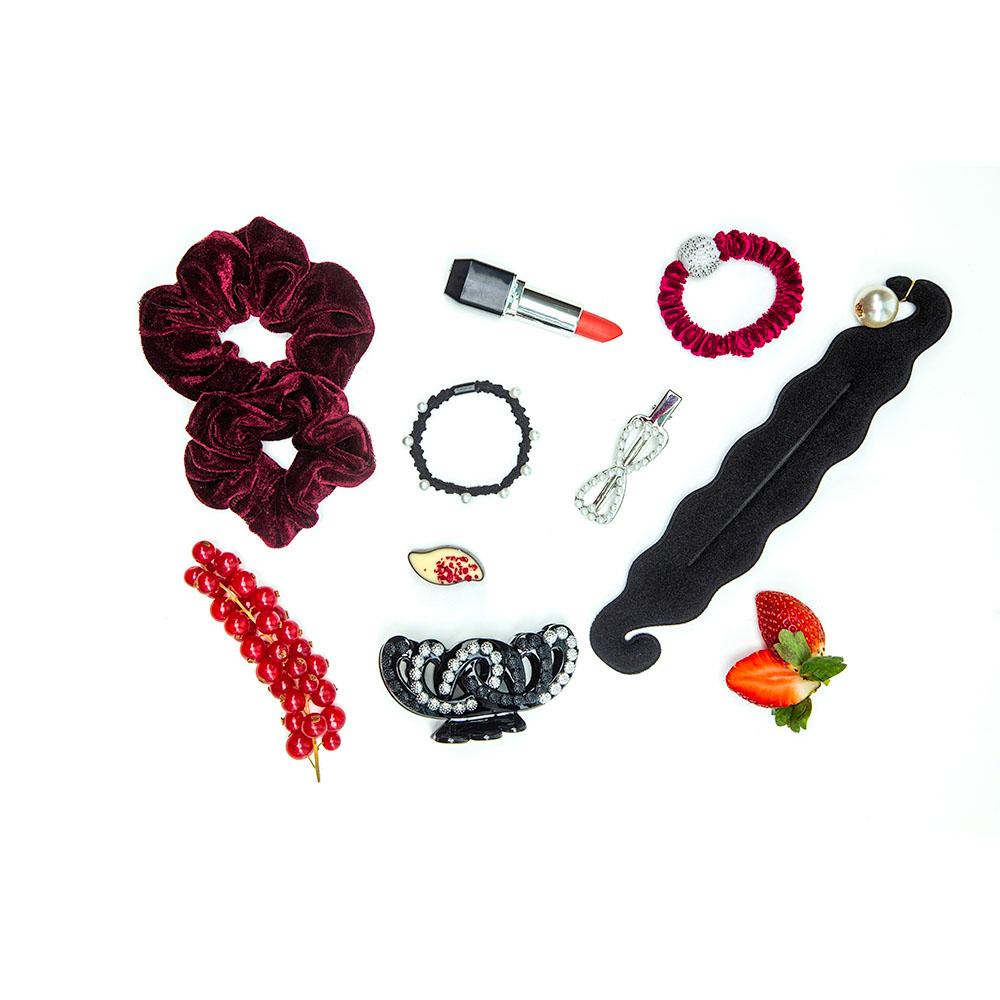 Резинка для волос бархат, полиэстер, d6 см, 6 цветов
