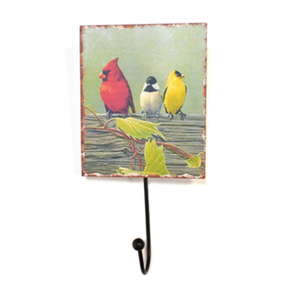 """Крючок декоративный настенный """"Птицы на заборе"""" мдф, 10х14х21см микс"""