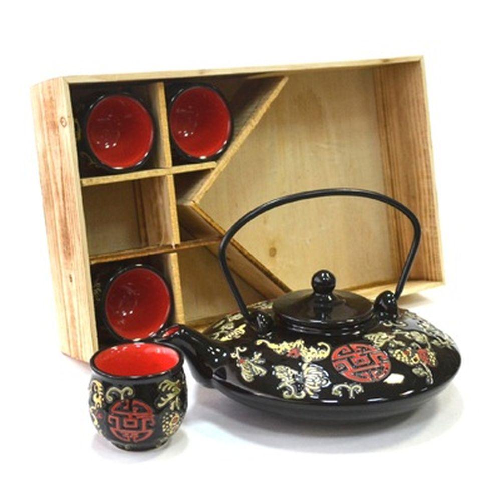 """Набор для чайной церемонии 5 пр. (чайник + 4 кружки), """"Печать с цветами"""", красный, черный HCLD-CJ-S0"""