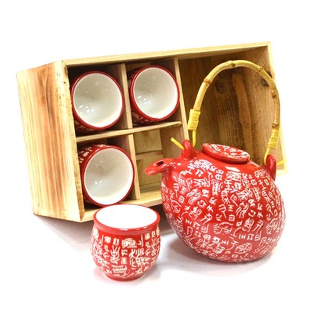 """Набор для чайной церемонии 5 пр. (чайник + 4 кружки), """"Иероглиф"""", красный, черный HCLD-CJ-S05AB"""
