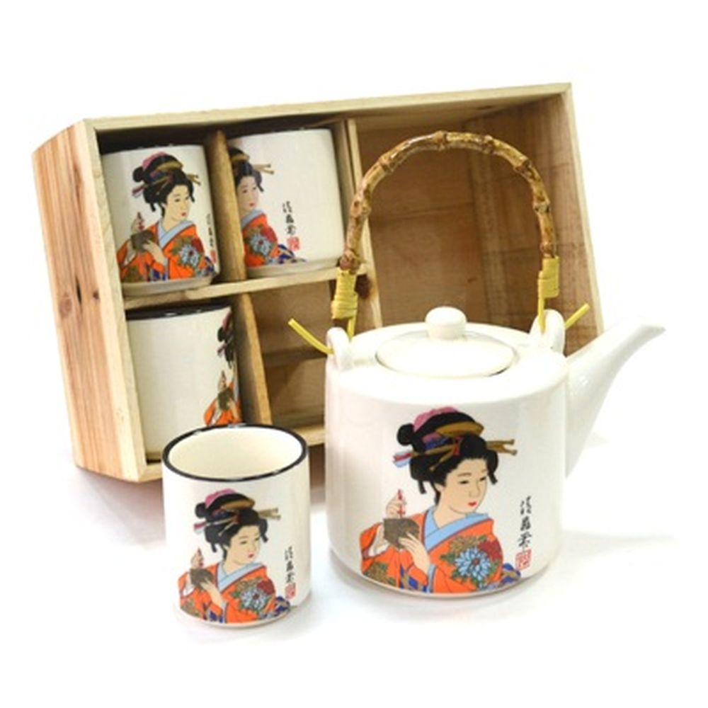 "Набор для чайной церемонии 5 пр. (чайник + 4 кружки), ""Принцесса"", белый, HCLD-CJ-S006"