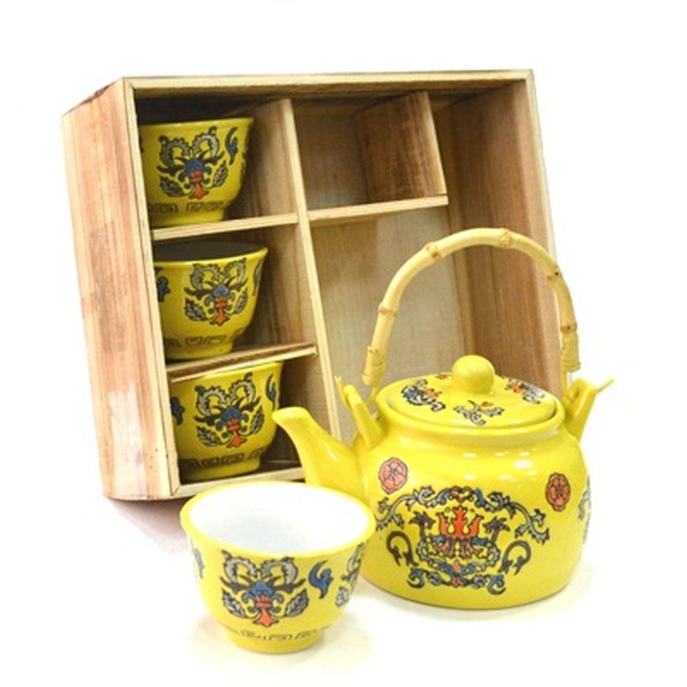 """Набор для чайной церемонии 5 пр. (чайник + 4 кружки), """"Орнамент"""" желтый HCLD-CJ-S010"""