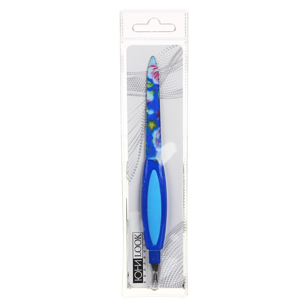 Пилка для ногтей 2-х сторонняя с триммером ЮниLook, 180/180 грит, 16 см, 3 цвета