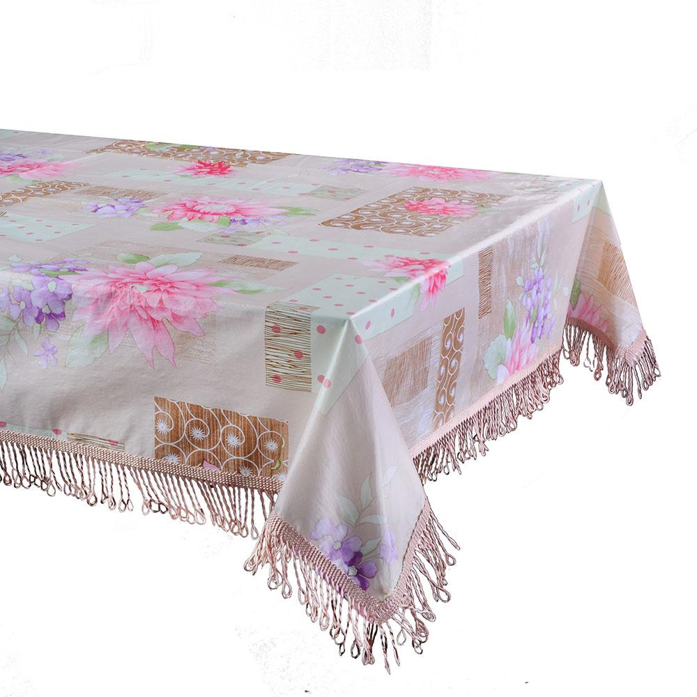 Скатерть на стол виниловая клеенка с бахромой, 135x205см
