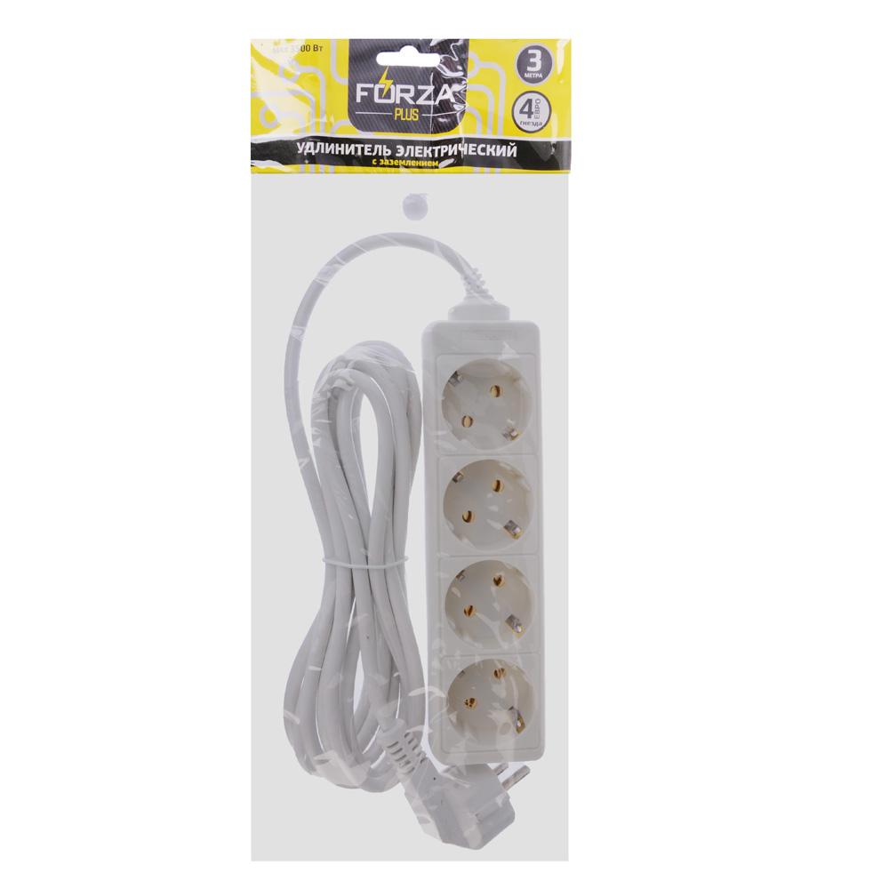 FORZA Удлинитель 4 гнезда, сеч. провода 1 кв.мм 3м, с заземлением, евро, 16 A, макс. мощность 3500Вт