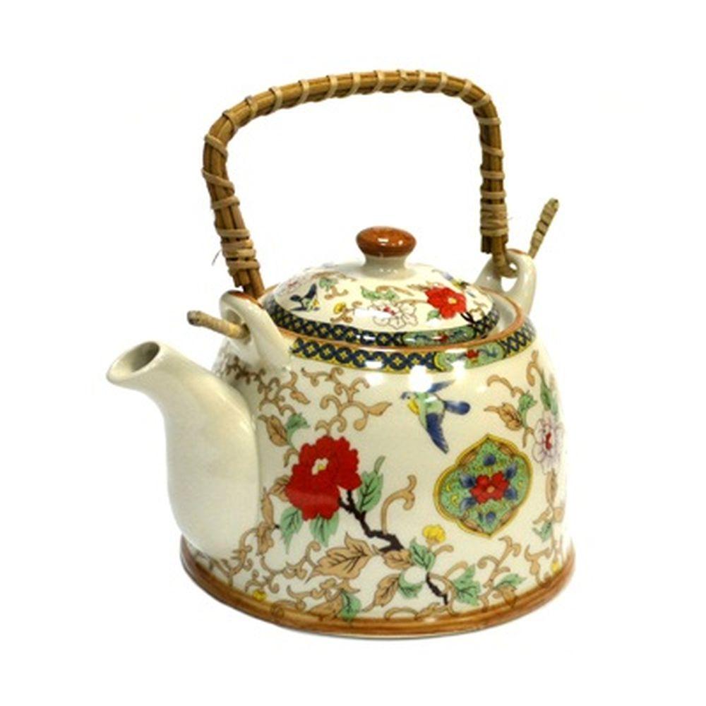 """Чайник заварочный керамика, 900мл, с ситечком и бамбуковой ручкой """"Восточный цветок"""""""