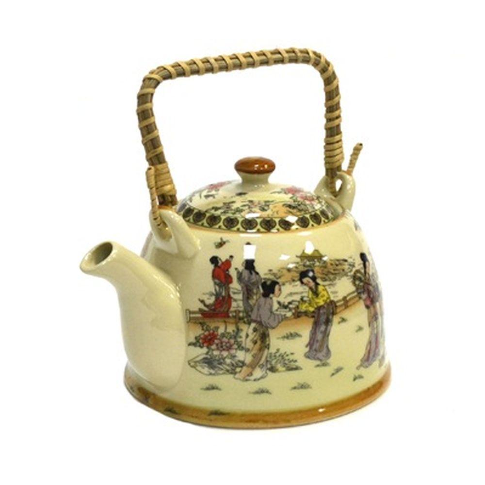 """Чайник заварочный керамика, 900мл, с ситечком и бамбуковой ручкой """"Восточные красавицы"""""""