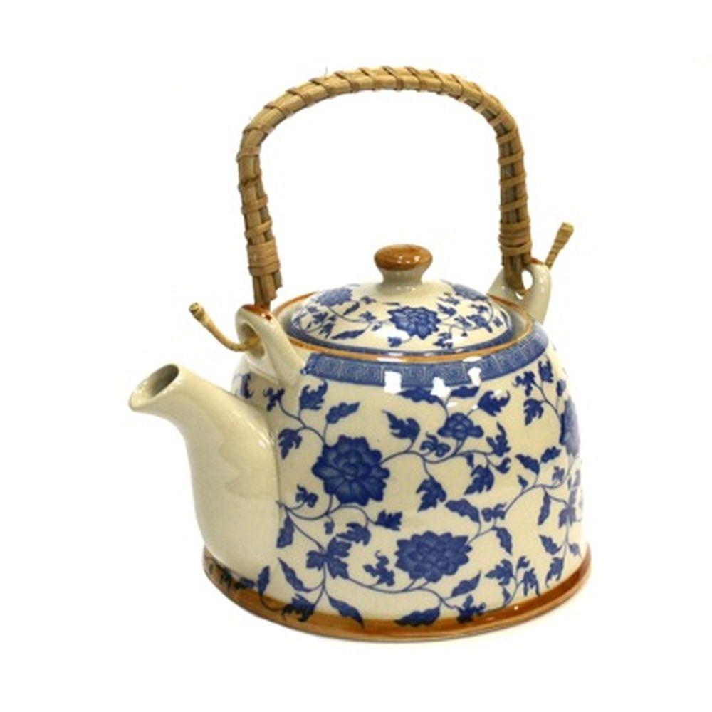 """Чайник заварочный керамика, 900мл, с ситечком и бамбуковой ручкой """"Василек"""""""