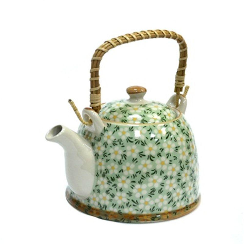 """Чайник заварочный керамика, 900мл, с ситечком и бамбуковой ручкой """"Ромашки"""""""