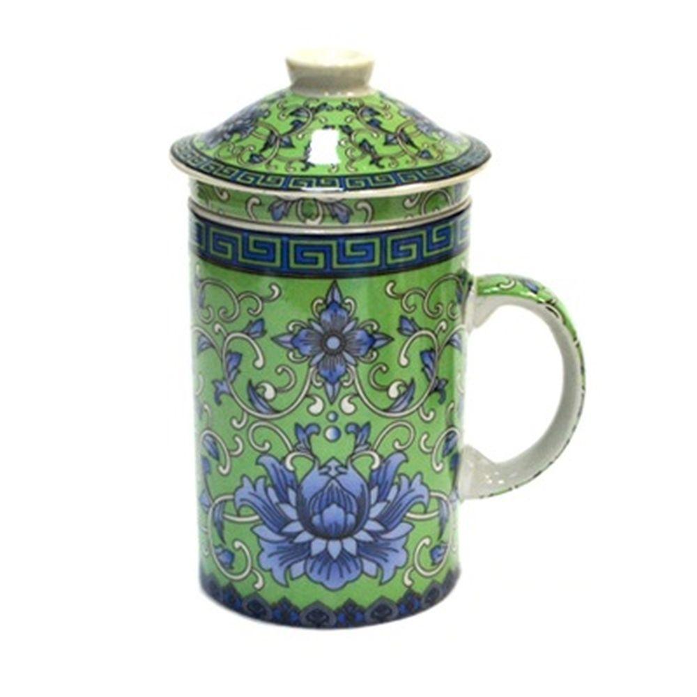 """Кружка заварочная 300мл, керамика, с керам ситом, """"Восточный орнамент"""", 4 цвета"""