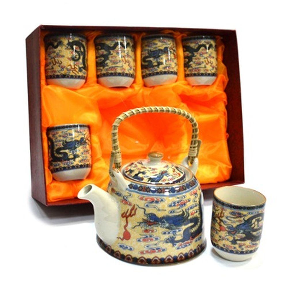 """Набор для чайной церемонии 7 пр. (чайник 700мл + 6 чашек 160мл), керамика, """"Восточный дракон"""""""