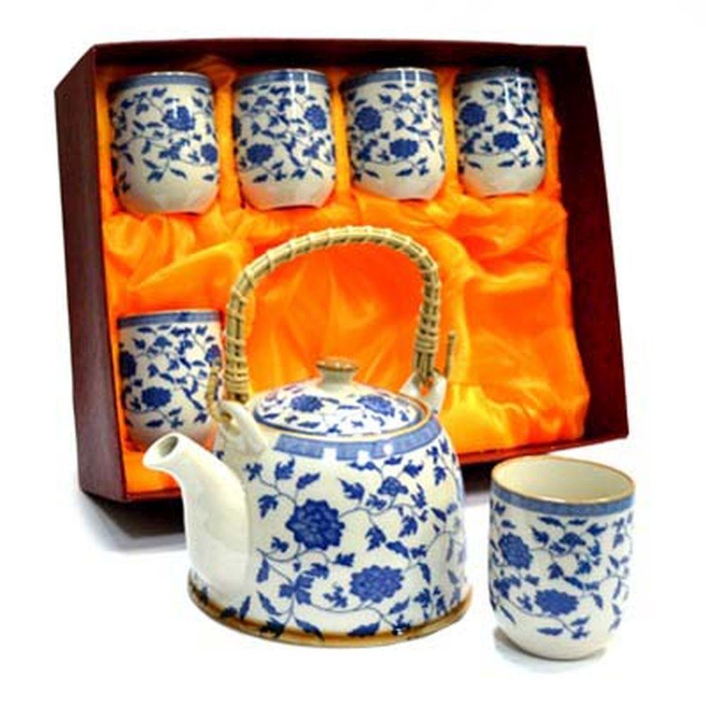 """Набор для чайной церемонии 7 пр. (чайник 700мл + 6 чашек 160мл), керамика, """"Василек"""""""