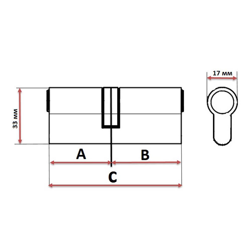 Сердцевина замка/ Цилиндровый механизм (алюминий/цинк) 60мм(30+30), кл-кл, 6кл (англ), хром