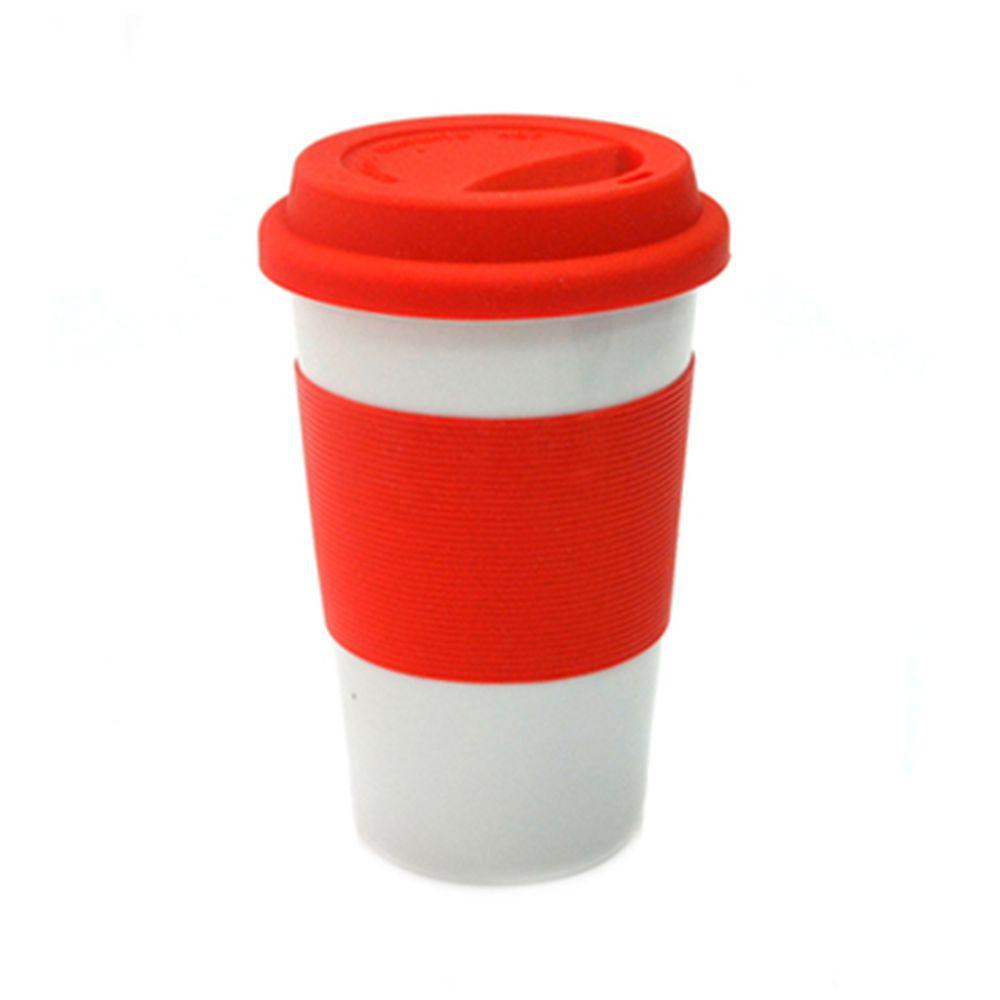 Кружка 400мл, с крышкой, силиконовая оболочка, Linea красная