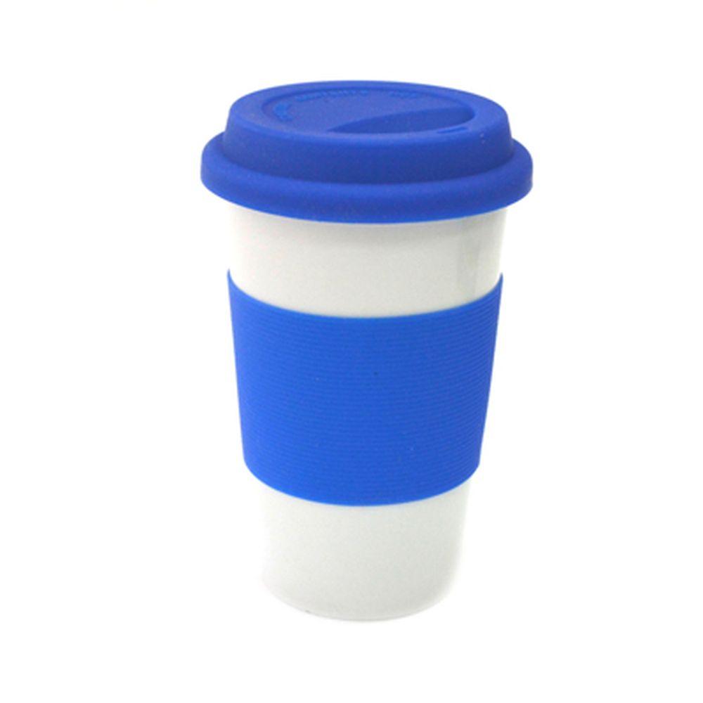 Кружка 400мл, с крышкой, силиконовая оболочка, Linea синяя