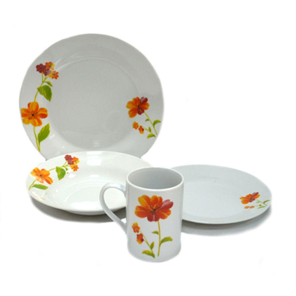"""Набор столовой посуды 16 пр. фарфор, """"Весна"""" оранжевые цветы кругл., 28B054"""