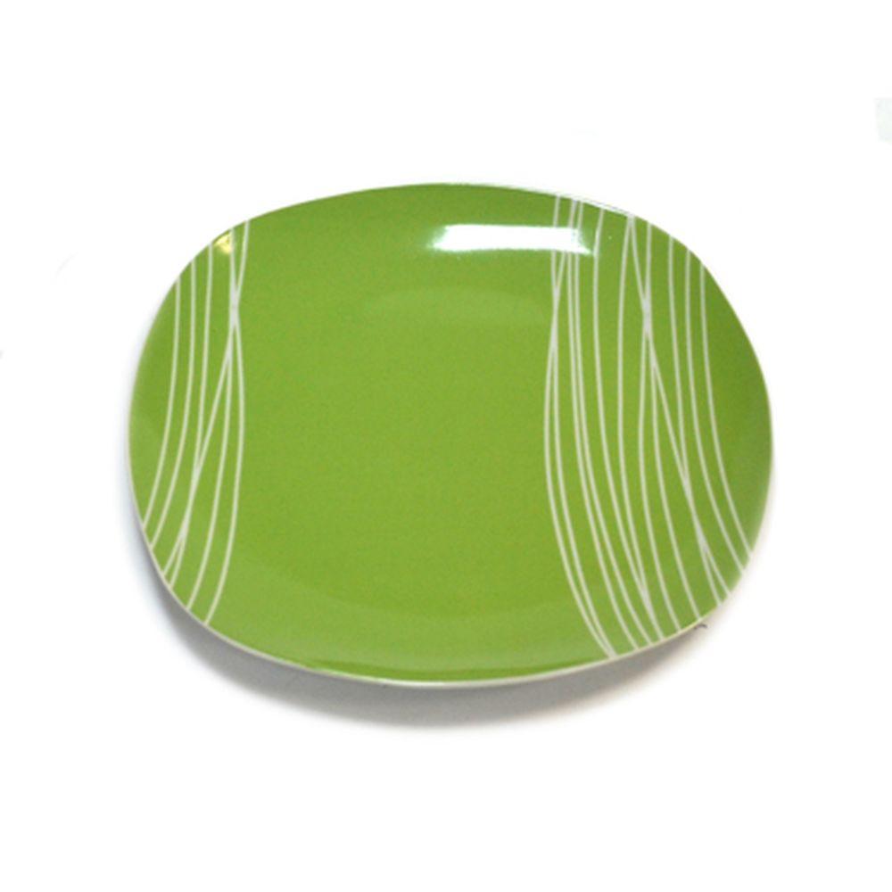 Тарелка подстановочная 27см, зелен., квадрат. 28B017-G