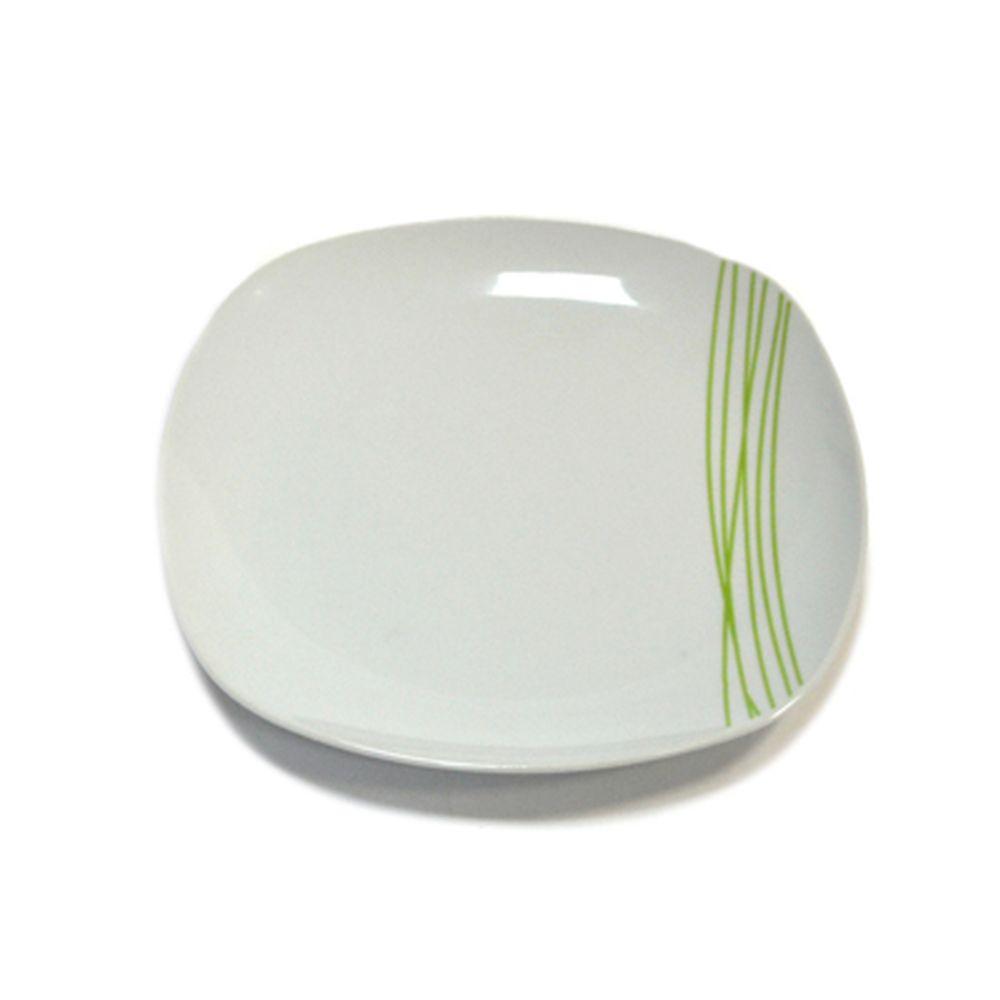 Тарелка десертная 20см, белая с зелеными полосками, квадр. 28B017-G