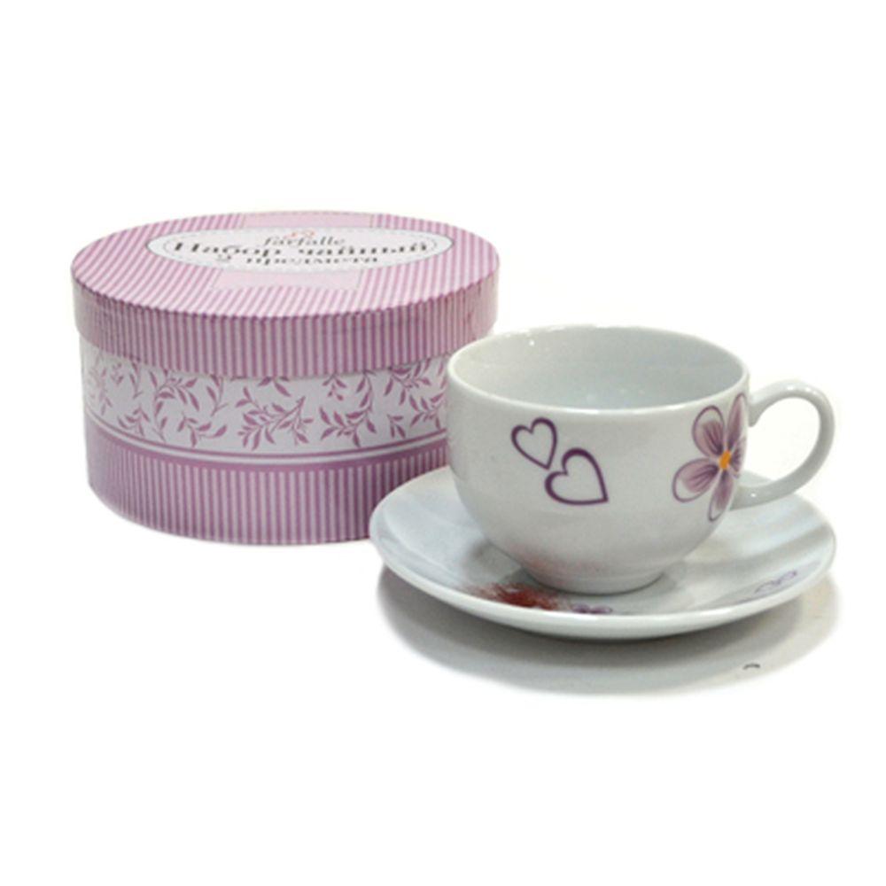 """Чайная пара 2 пр. """"Светло-фиолетовый цветок с сердечками"""" кругл.фрф. 29104"""