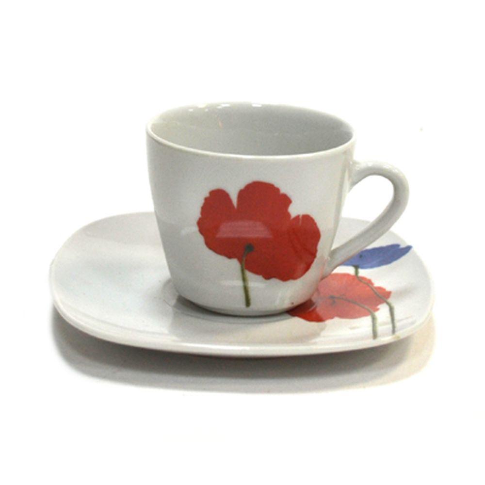 "Набор чайный 12 пр. ""Маки"" квадрат фрф. (чашки 220мл*6шт, блюдца 6шт), 26B056"