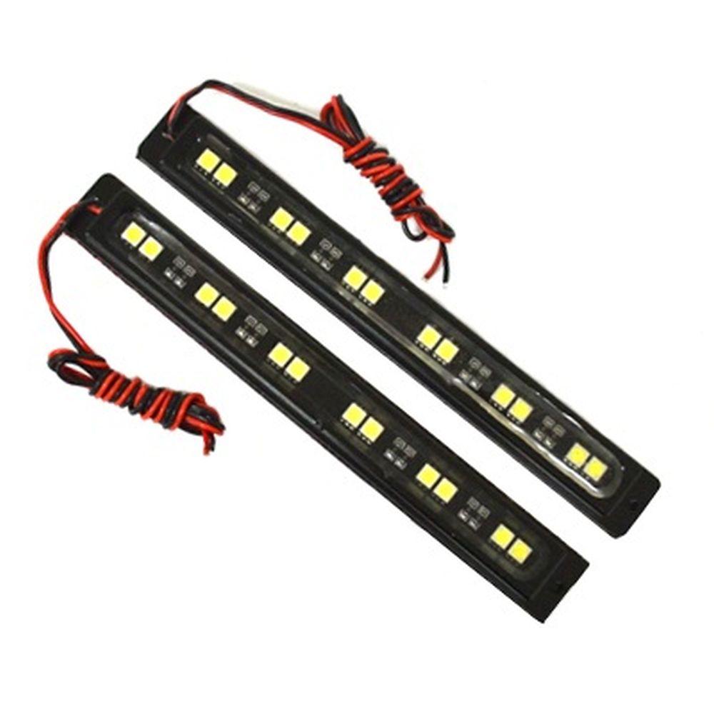 Дневные ходовые огни 2х12LEDx0,2W алюминиевый корпус, 174x20x10мм, 77152