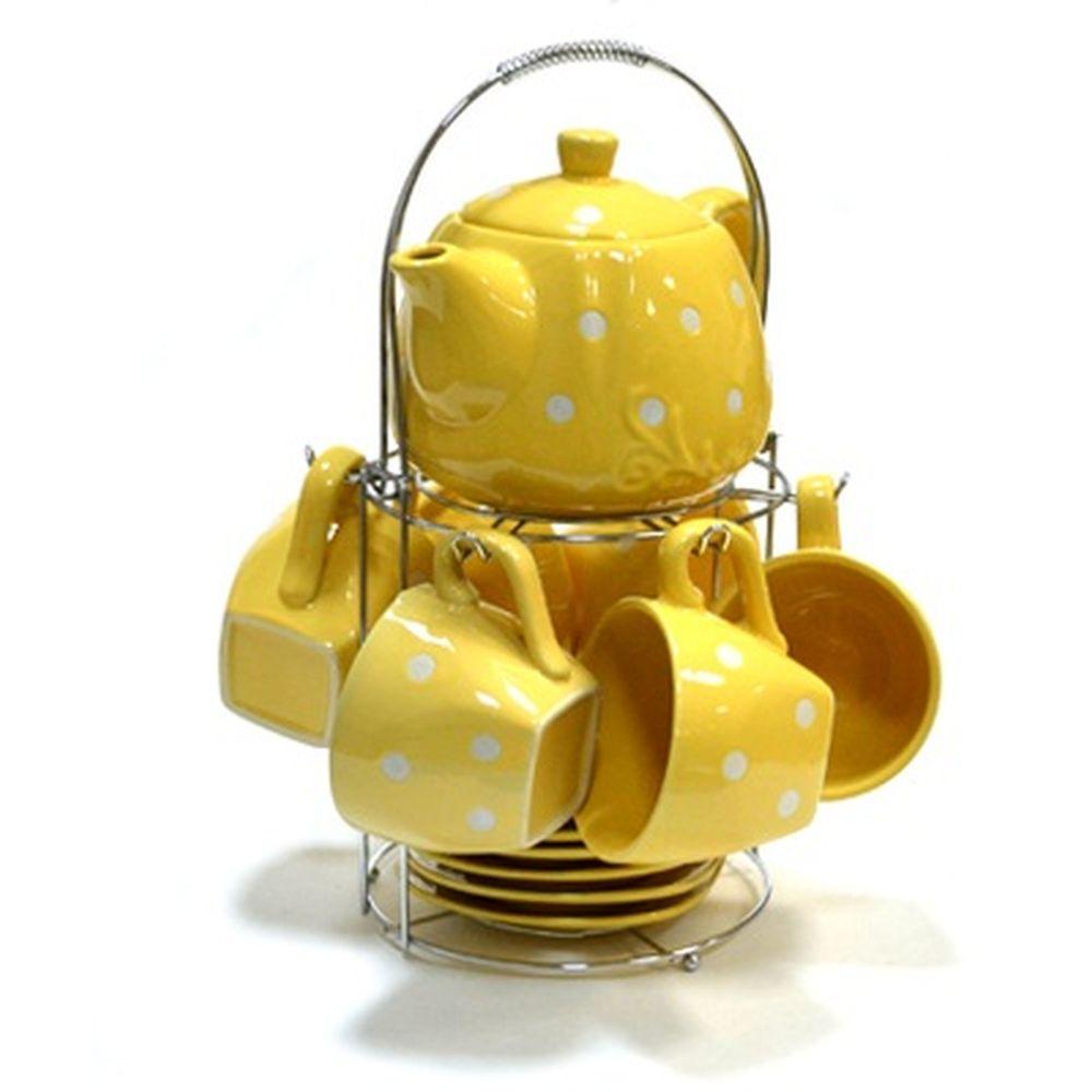 Набор чайный 13 пр. Горошек, желт., метал.подставка, керамика