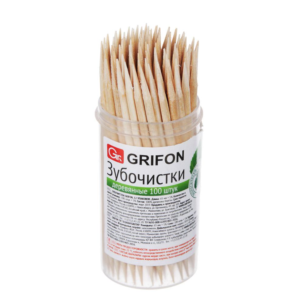 Зубочистки деревянные 100 шт в пластиковой баночке, GRIFON