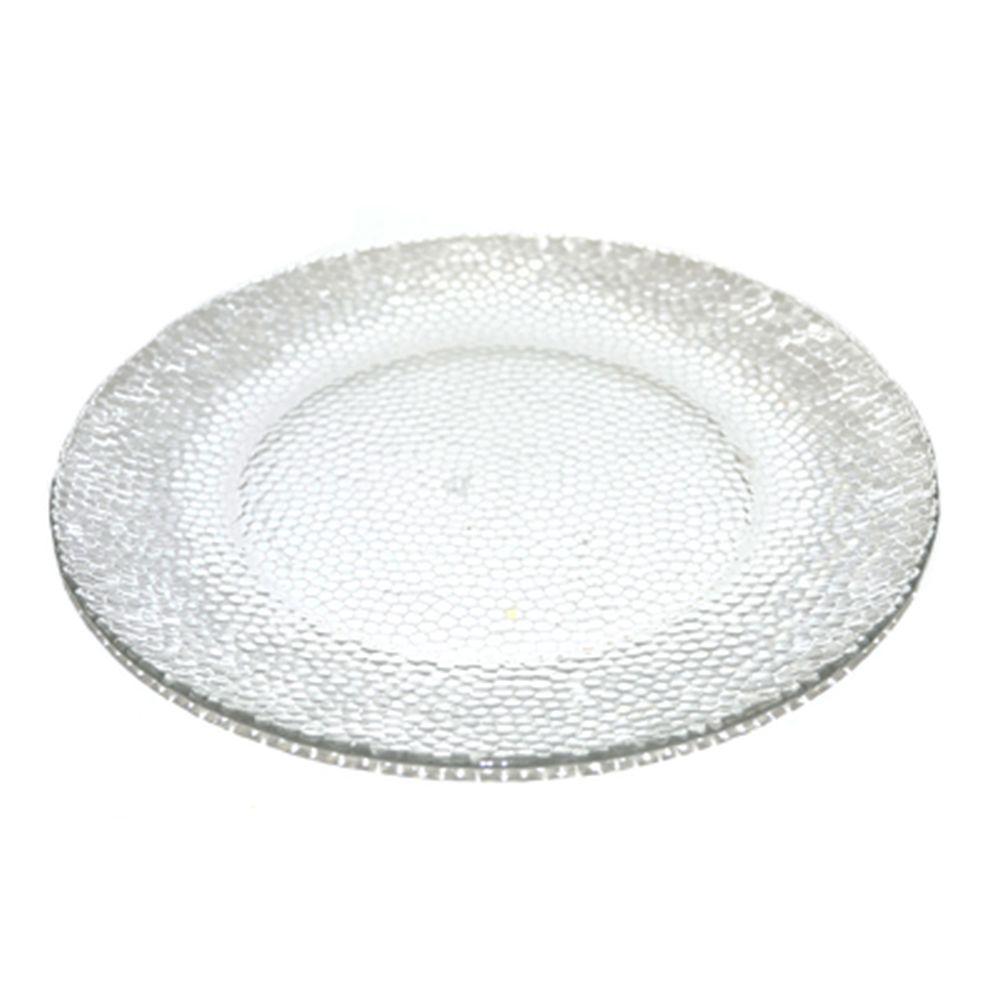 Тарелка мелкая d25см прозрачное стекло TR-P1098