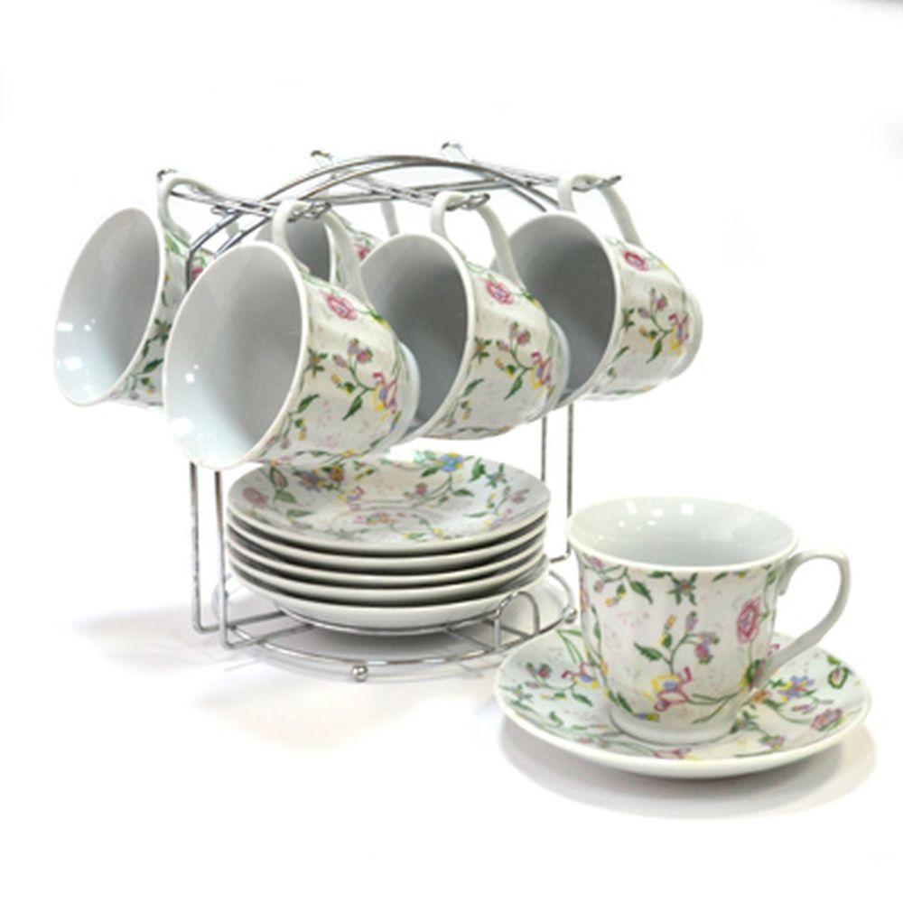 Набор чайный 12 пр. 230мл на металл подставке Полевые цветы 30060