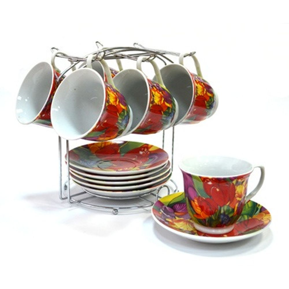 Набор чайный 12 пр. 230мл на металл подставке Весенние цветы 30061