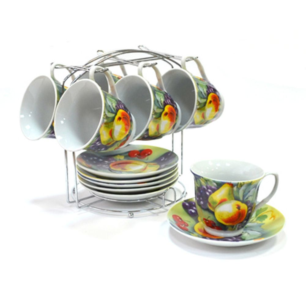 Набор чайный 12 пр. 230мл на металл подставке Натюрморт Груши 30069