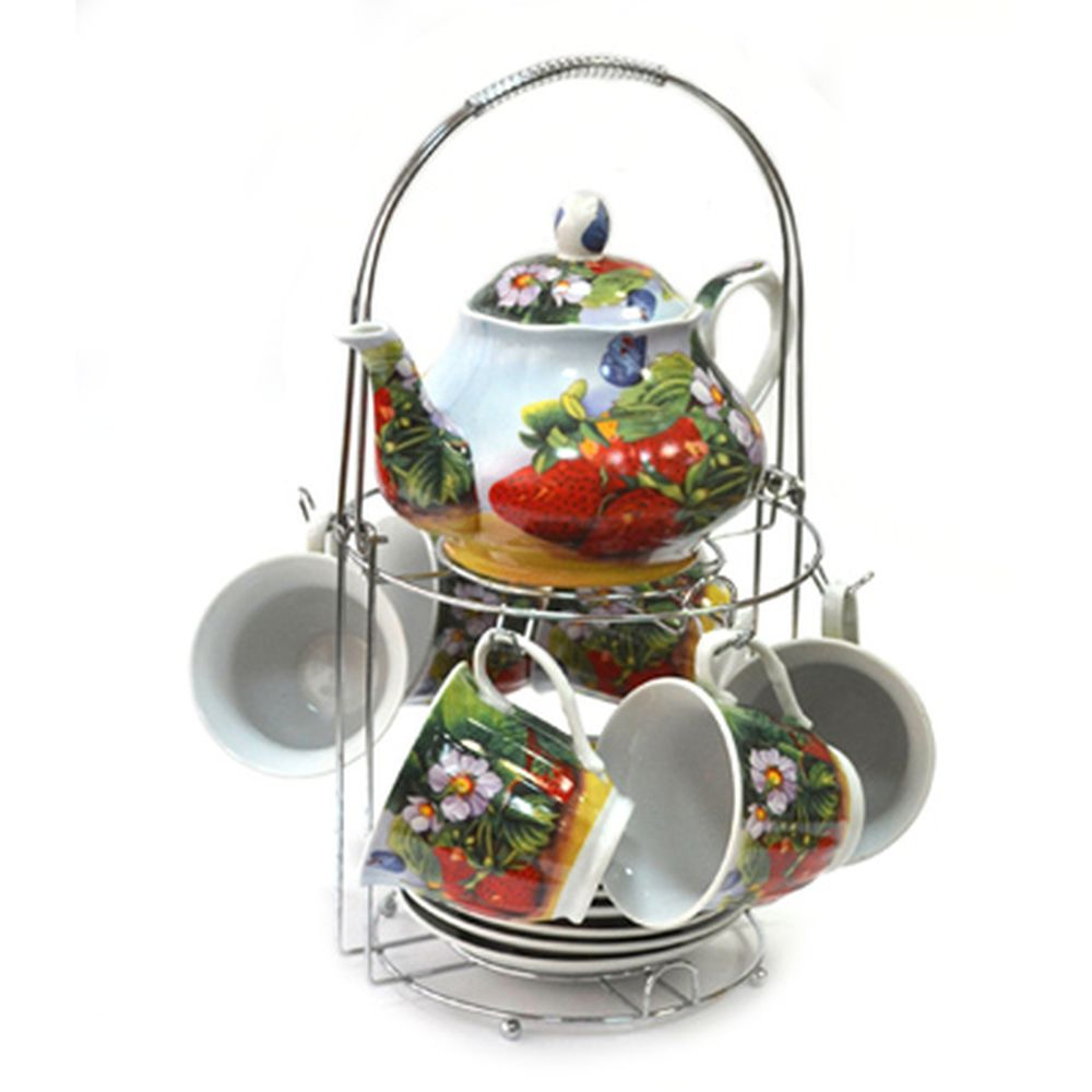 Набор чайный 13 пр. (6 чайных пар 230мл + чайник 800мл) на металл подставке Клубника 30087