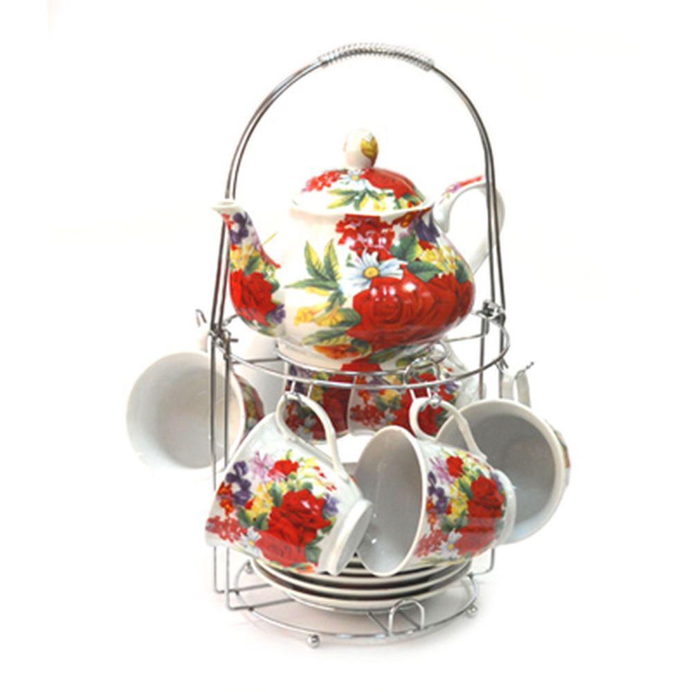 Набор чайный 13 пр. (6 чайных пар 230мл + чайник 800мл) на металл подставке Торжество 30096