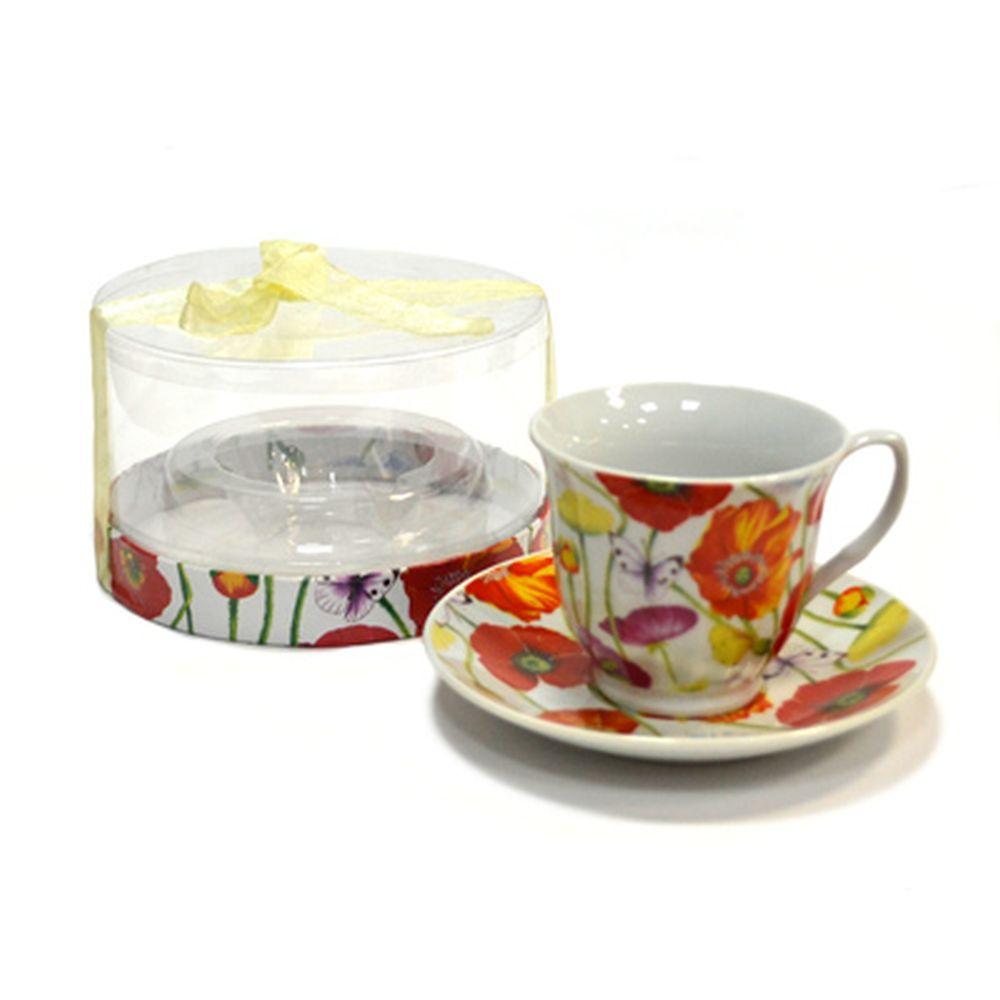 Чайная пара 230мл Маки и бабочки 30047