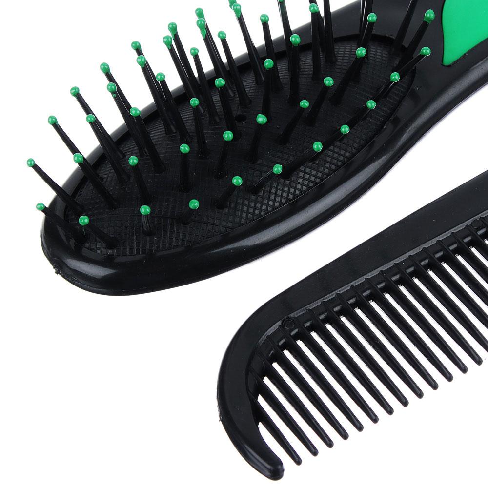 Набор для ухода за волосами: расческа массажная, гребень, зеркало, пластик, 14 см