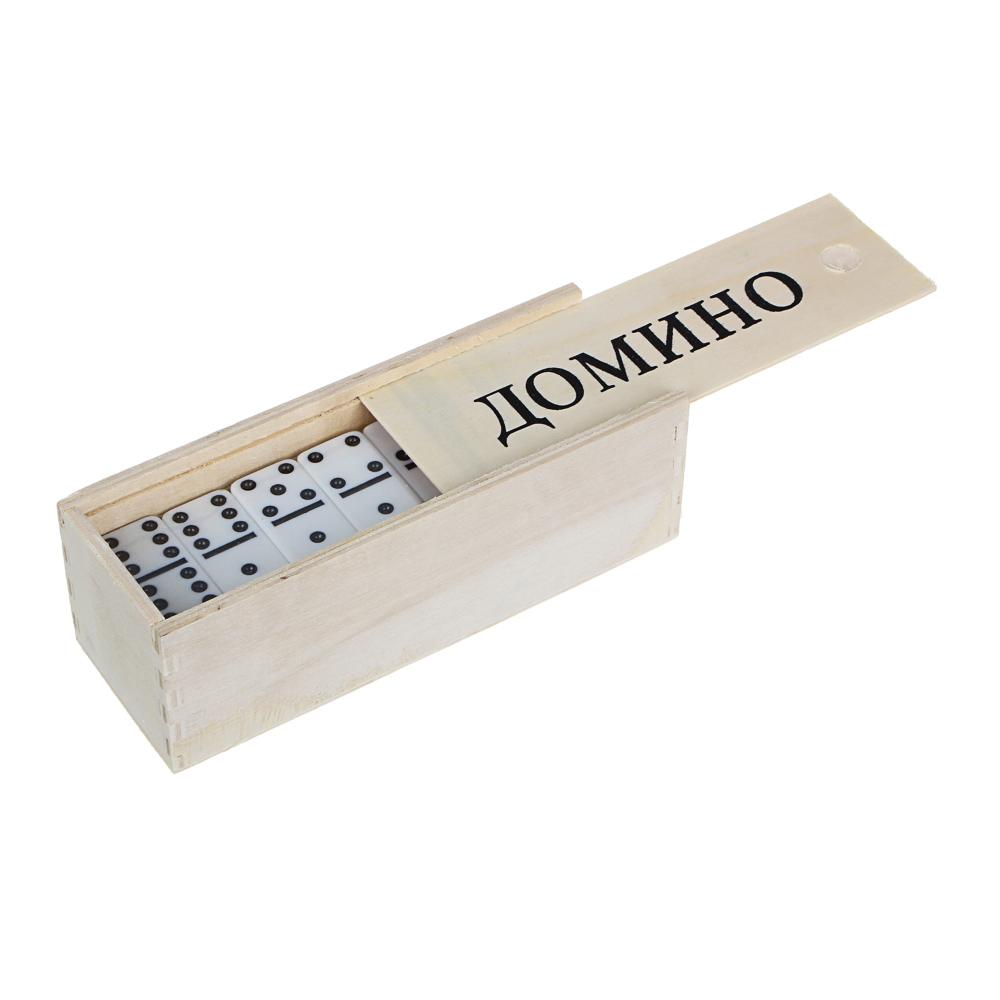 Домино пластик, в деревянном пенале 15,5х5,5см