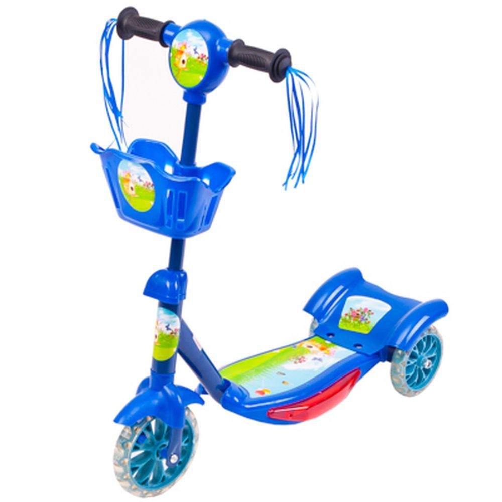 Самокат 3-х колес. светящ. колеса, музык. железо/пластик, до 40кг, 3 цвета, XQSH-1313