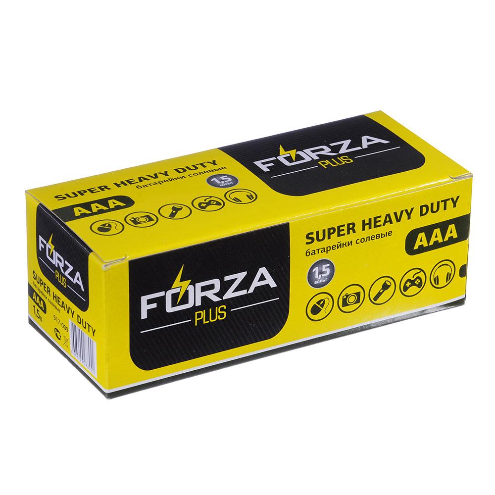 """Батарейк солевые, 4 шт, тип AAA (R03), плёнка, FORZA """"Super heavy duty"""""""