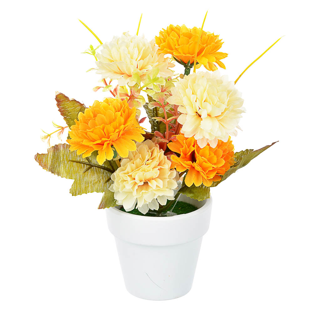 """Цветы в кашпо """"Фиалки махровые"""" в белом горшке, 5 дизайнов, керамика, пластик, PE,16см"""