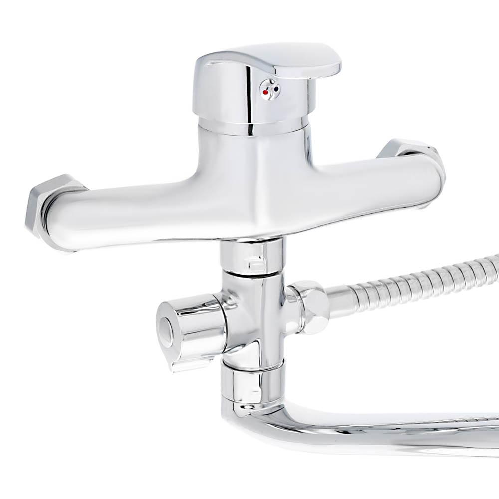 Смеситель для ванны, длинный изогнутый излив, керамический картридж 40 мм, хром, Klabb 13