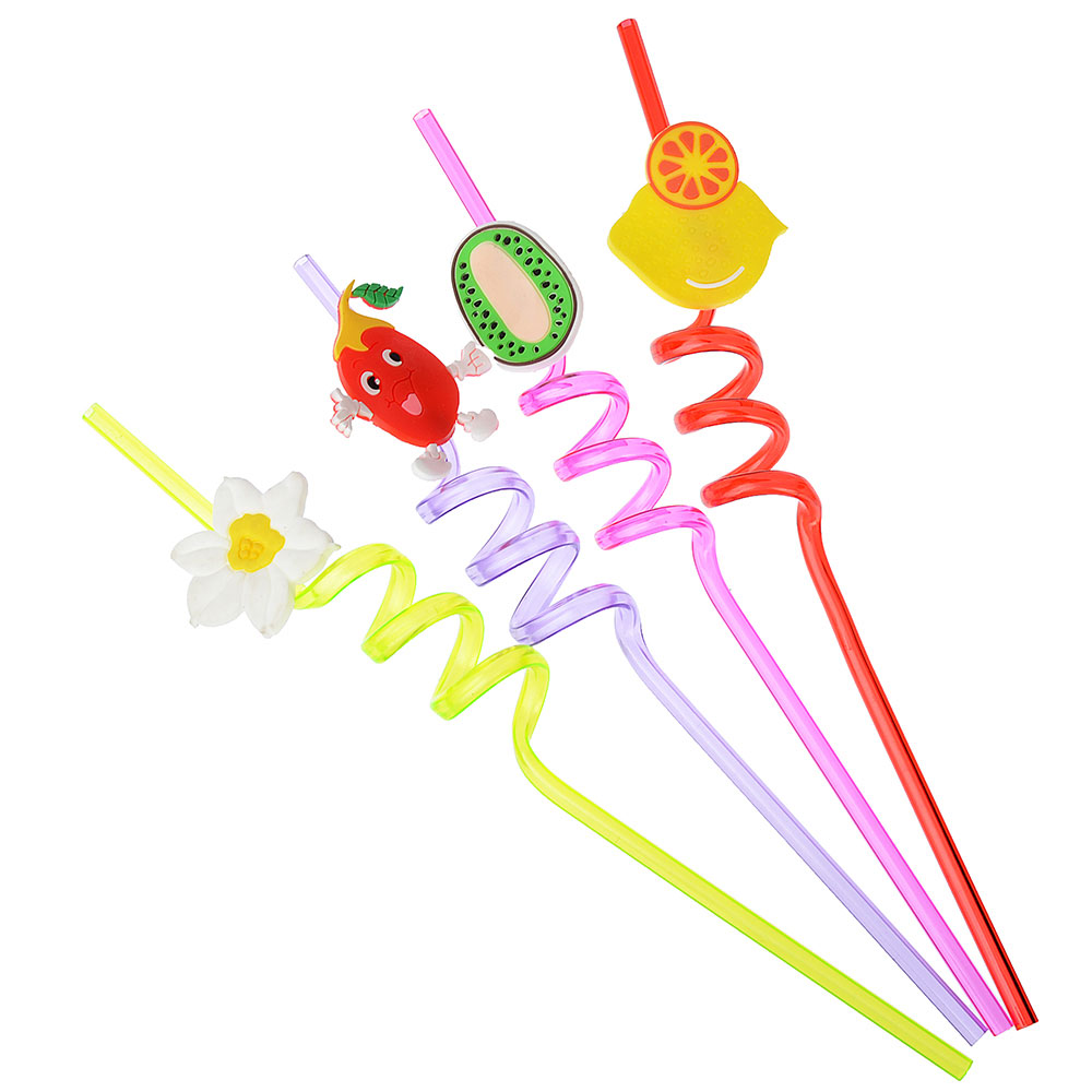 """Трубочки для напитков 4шт, 260х5мм, цветные, """"Фрукты-Крэйзи"""""""