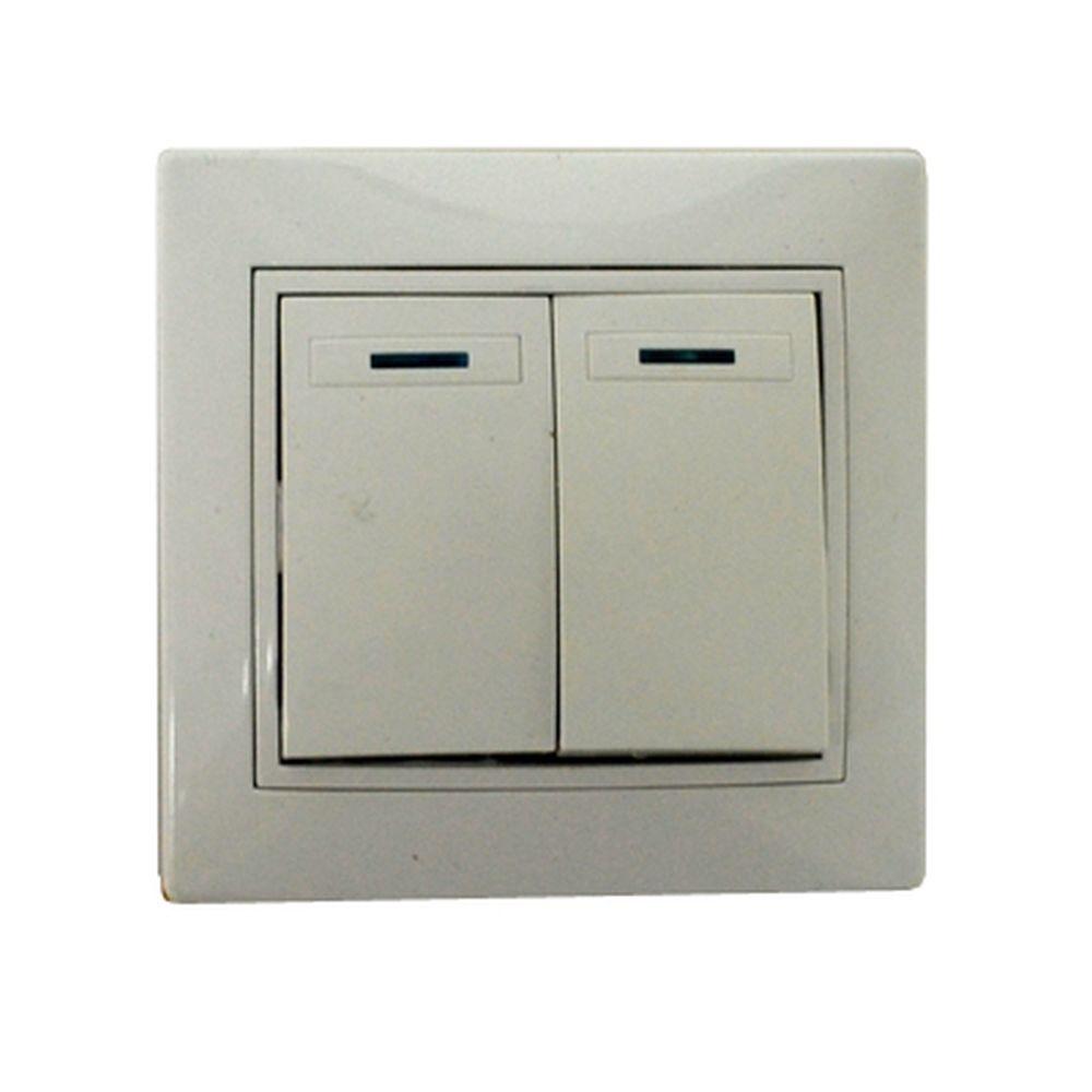Выключатель Гранд двухклавишный с подсветкой, цвет белый, R1822